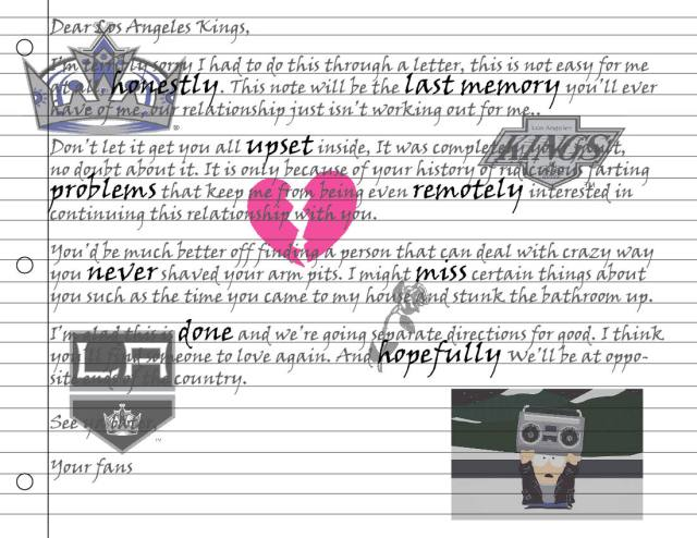Kings Break Up Letter